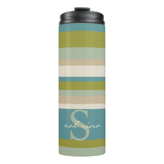 Modern Monogram Teal Olive Stripes Pattern Thermal Tumbler