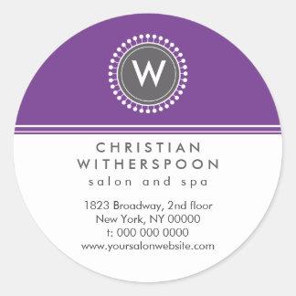Modern Monogram Violet Aesthetic Round Sticker