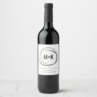 Modern Monogram Wedding Favor Wine Labels
