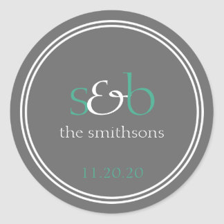 Modern Monogram Wedding Labels (Dark Green / Gray) Round Sticker