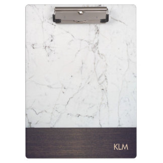 Modern Monogram Wood White Marble Clipboard