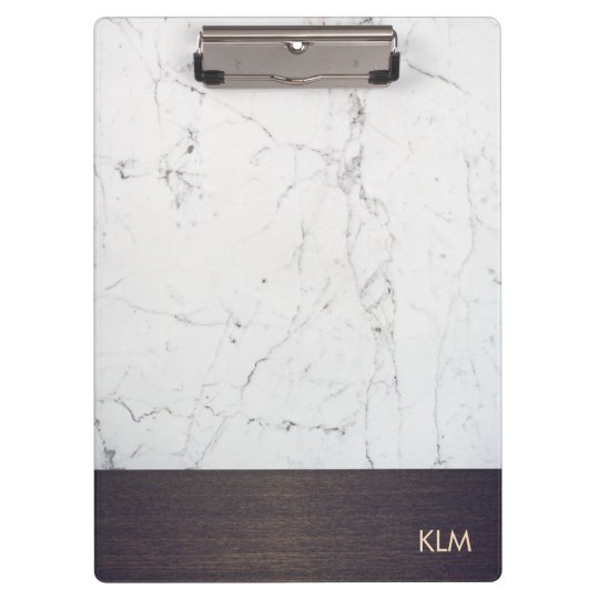 Modern Monogram Wood White Marble Clipboard