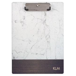 Modern Monogram Wood White Marble Clipboards