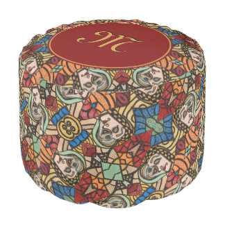 Modern Monogrammed Abstract Faces Fashion Beauty Pouf
