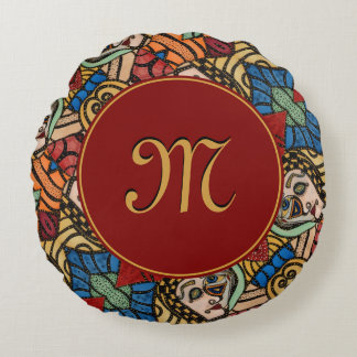 Modern Monogrammed Abstract Faces Fashion Beauty Round Pillow