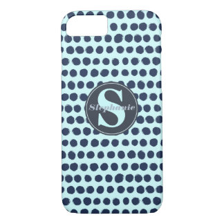 Modern monogrammed Blue Painted Polka Dots iPhone 8/7 Case