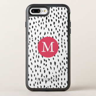 Modern Monogrammed Girly Hand drawn Dots Pattern OtterBox Symmetry iPhone 8 Plus/7 Plus Case