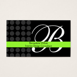 Modern Monogrammed Interior Design Lime Black Grey Business Card