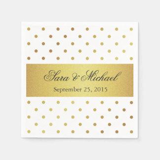 Modern Monogrammed - White and Gold Polka Dots Paper Napkin