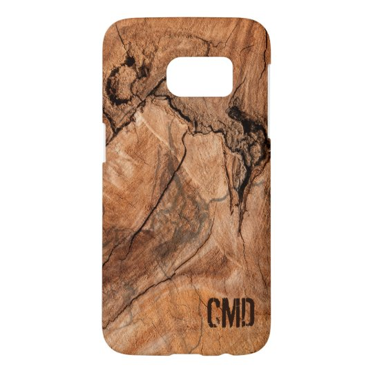 Modern Monogrammed Wood Knots Samsung Galaxy S7 Case