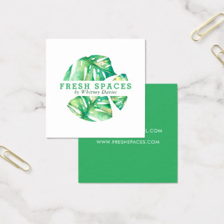 MODERN MONSTERA LEAF LOGO stylish health green Square Business Card