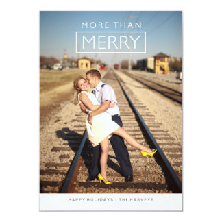 Modern More Than Merry Holiday Photo Card