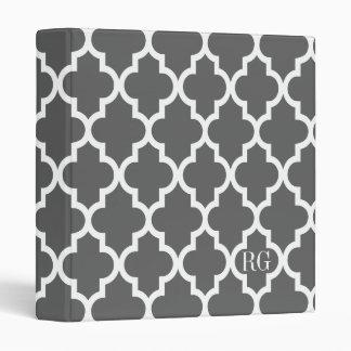 Modern Moroccan Lattice Pattern In Grey 3 Ring Binder