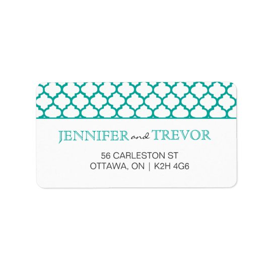 Modern Moroccan Pattern Label Teal
