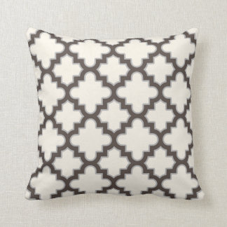 Modern Moroccan Quatrefoil in Cream Brown Grey Throw Pillow