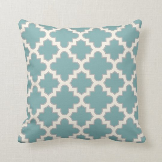 Modern Moroccan Quatrefoil in Teal Cream Grey Throw Pillow