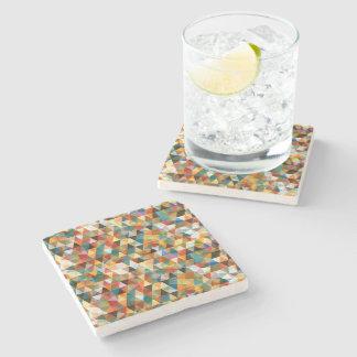Modern Mosaic Geometric Design Stone Beverage Coaster