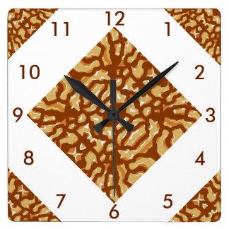 Modern Mosaic Wall Clock on Brown,Tan,White