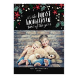 "Modern Most Wonderful Holiday Greetings Photo Card 5"" X 7"" Invitation Card"