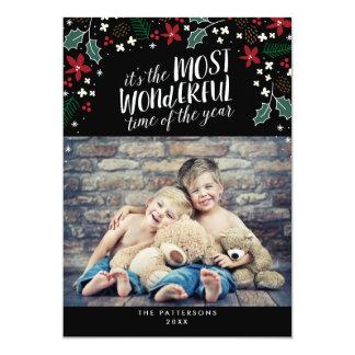 "Modern Most Wonderful Holiday Greetings Photo Card 5"" X 7"" Invitation Card"