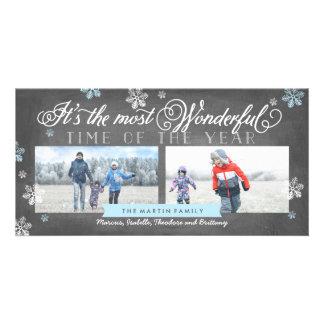 Modern Most Wonderful Time Holiday Chalkboard Photo Card