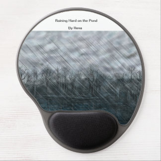 Modern Mouse Art Raining Hard on the Pond By Rena Gel Mouse Mats