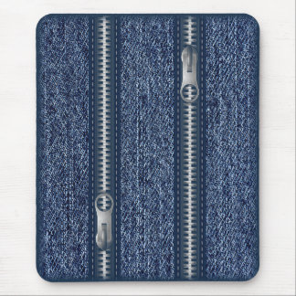 Modern mousepad, blue jeans with zipper mouse pad