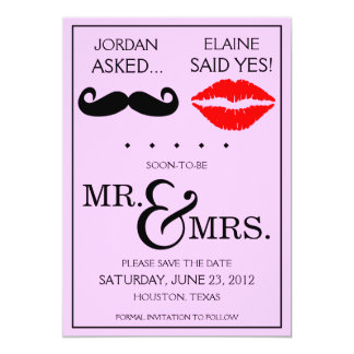 "Modern Moustache Lips Mr. & Mrs. Save the Date 5"" X 7"" Invitation Card"