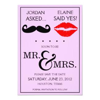 "Modern Moustache Lips Mr. & Mrs. Save the Date 5"" X 7"" Invitation Card"