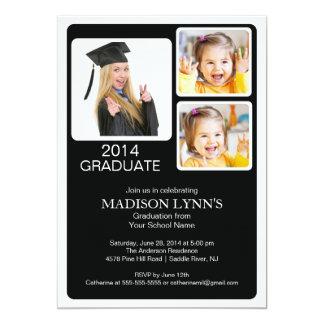 """Modern Multi Photo Graduation Party Invitation 5"""" X 7"""" Invitation Card"""