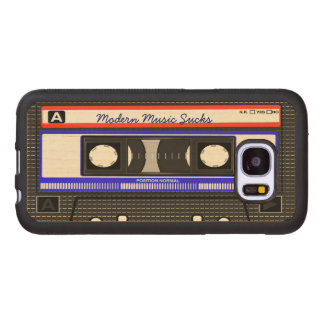 Modern Music Sucks Retro Compact Cassette Funny Wood Samsung Galaxy S7 Case