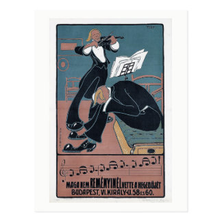 Modern Music Violin, Noise, Budapest Vintage Postcard
