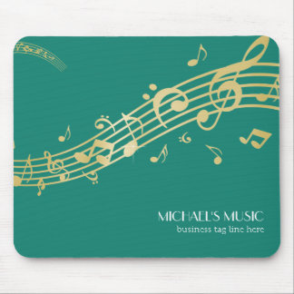 Modern Musical Business Branding Gold Music Notes Mouse Pad