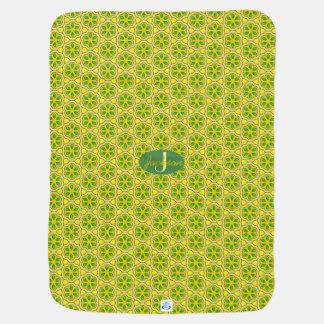 Modern Mustard Geometric Pattern with Monogram Baby Blankets