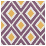Modern Mustard Yellow and Purple Ikat Pattern Fabric