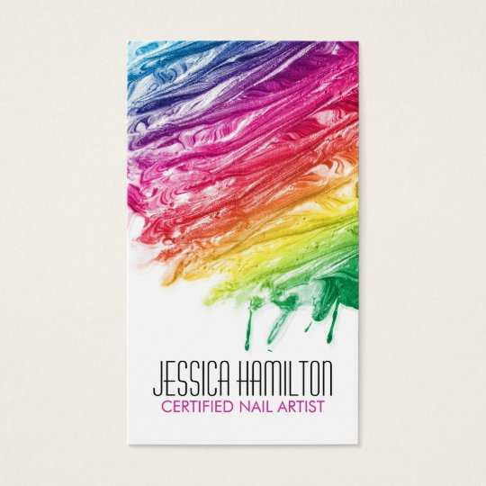Custom nail technician business cards zazzle modern nail artist business card template prinsesfo Images