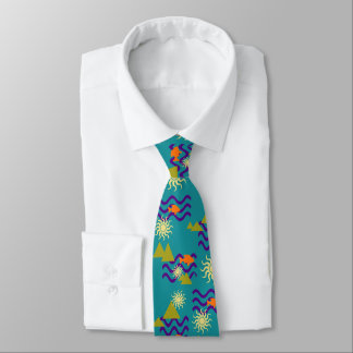 Modern Nature Earth Symbols Pattern on Teal Green Tie