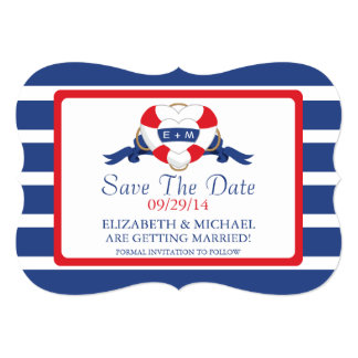 Modern Nautical Heart Buoy Save The Date Card