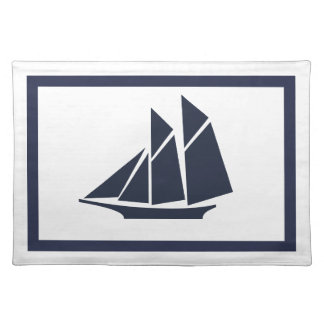 Modern Nautical Navy Blue Sailboat & White Placemat