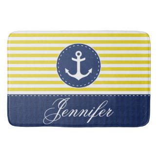 Modern Nautical Yellow Blue Anchor Personalized Bath Mat