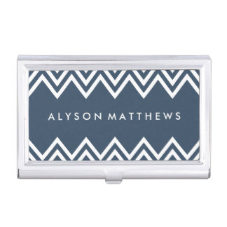 Modern Navy and White Chevron Business Card Holder
