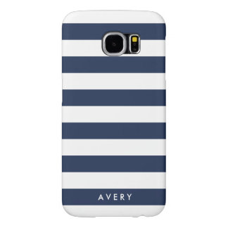 Modern Navy and White Stripe Personalized Case