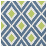 Modern Navy Blue and Lime Green Ikat Pattern Fabric