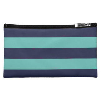 Modern Navy Blue and Turquoise  Rugby Stripes Makeup Bags