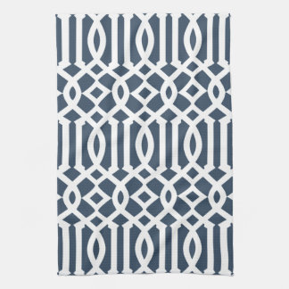 Modern Navy Blue and White Trellis Pattern Hand Towel