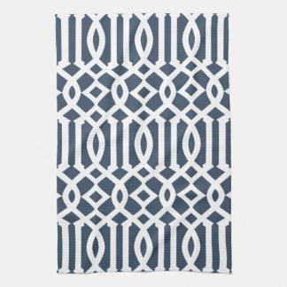 Modern Navy Blue and White Trellis Pattern Kitchen Towel