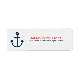 Modern Navy-Blue & Coral-Red Nautical Boat Anchor Return Address Label