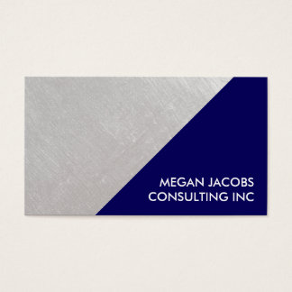 Modern Navy Blue Faux Brushed Silver Geometric Business Card