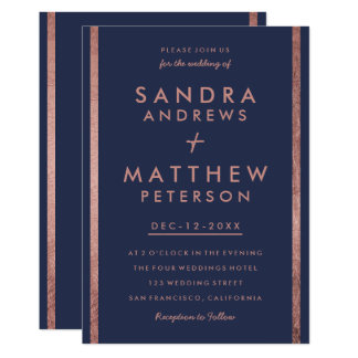 Modern navy blue faux rose gold stripes wedding card