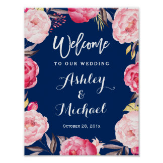 Modern Navy Blue Floral Wreath Wedding Sign Poster